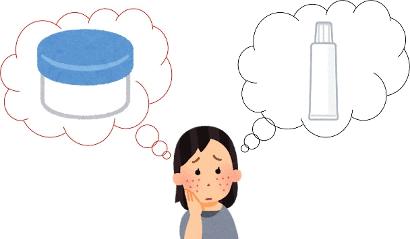 保湿剤で悩む女性のイラスト